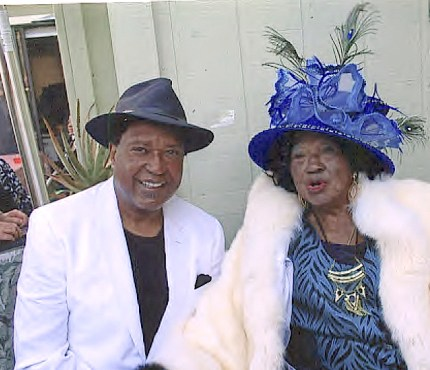 John Burris and his mother, Imogene Burris, who was known for her grand and colorful hats