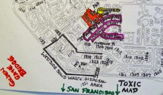 A closeup view of the Bigelow Court area of the map