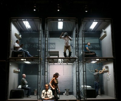 "Actors rehearse ""The Box,"" a play about solitary confinement written by Sarah Shourd, at Z Space in San Francisco, on Friday, July 1. – Photo: Anda Chu, Bay Area News Group"