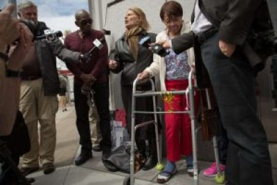 Iris Canada grips her walker during a press conference outside Superior Court on April 12, 2016, one emotional event in her long struggle against eviction that must be taking a toll on her but has made her a hero to everyone fighting to save the soul of San Francisco. – Photo: Santiago Mejia, SF Chronicle