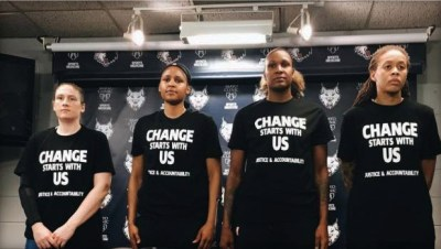 Minnesota Lynx players wear warm-up shirts at a July 9 press conference showing support for Black Lives Matter. The four cops hired to provide security for the game were furious and walked off the job. – Photo: Minnesota Lynx Instagram page