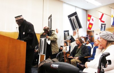 "Elbert ""Big Man"" Howard testifies for justice for Andy Lopez at the Sonoma County Board of Supervisors on Jan. 7, 2014. – Photo: Vesta Copestakes"