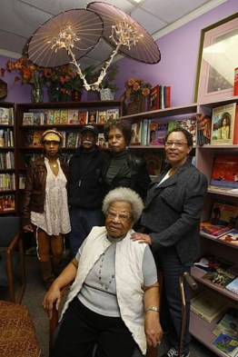 In the grand old Marcus Book Store are the family owners: Tamiko, Gregory and Karen Johnson, co-founder Dr. Raye Richardson and Blanche Richardson, who runs the Oakland store. Karen and Blanche are the daughters of Marcus Books founders Drs. Raye and Julian Richardson.