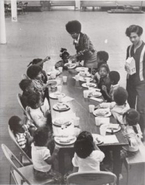Every morning, the Panthers served free breakfast to children on their way to school in cities all over the country. This is the free breakfast program at Sacred Heart Church in the Fillmore district of San Francisco. – Photo: Ducho Dennis, It's About Time Archive
