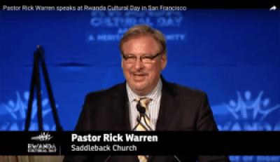 This is Rev. Rick Warren speaking at Rwanda Day.
