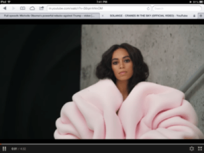 "Solange Knowles in the music video for ""Cranes in the Sky"""