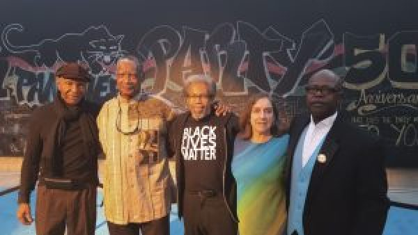 At the Gala were three free legendary Panther political prisoners – Robert King, Eddie Conway and Albert Woodfox – with celebration organizers Gail Shaw and Billy X Jennings, BPP archivist and exhibit curator at itsabouttimeBPP.com. – Photo: Billy X Jennings