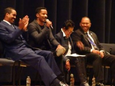 """Minister Christopher Muhammad, Nate Parker, Elaine Brown and Bernard McCune were panelists at the screening of """"Birth of a Nation"""" at McClymonds High School on Nov. 10. – Photo: Wanda Sabir"""