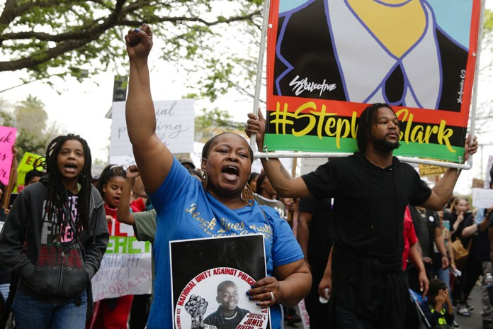 Stephon-Clark-funeral-day-rally-at-DAs-Office-040418-by-Elijah-Nouvelage-EPA-EFE-web, Sacramento officials: The two officers who shot Stephon Clark, an unarmed Black man, last March, will walk free, Local News & Views