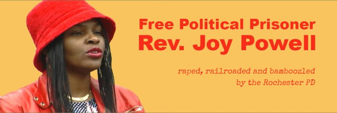 Free-Political-Prisoner-Rev.-Joy-Powell'-meme, Black women political prisoners of the police state, Behind Enemy Lines