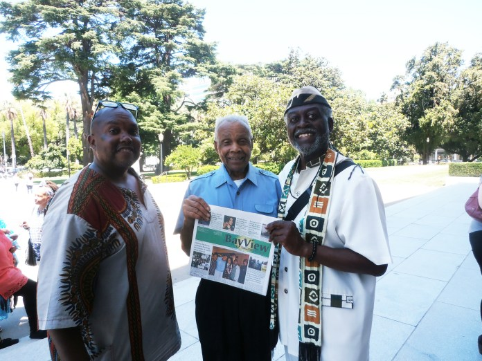 Babas-Khubaka-Joe-Jahahara-on-Juneteenth-at-state-Capitol-in-Sac-by-Jahahara, Reparations now! Pass HR 40!, Culture Currents