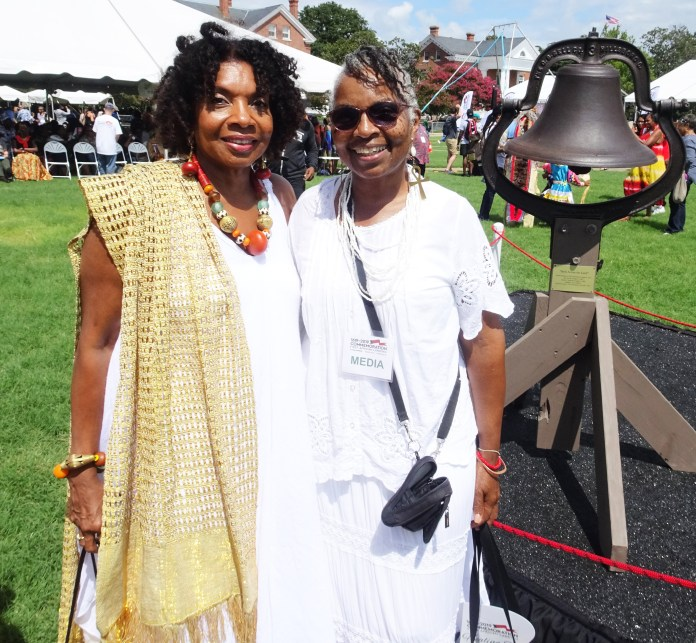 400-Years-Eurica-Huggins-Axum-of-ADACI-Wanda-co-founders-of-Int'l-Coal-for-Commemoration-of-African-Ancestors-of-Mid-Passage-at-bell-on-Nat'l-Day-of-Healing-Old-Point-Comfort-Va.-082519-by-Wanda, Wanda's Picks for October 2019, Culture Currents