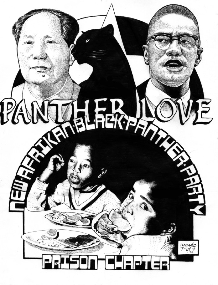 Panther-Love-art-by-Kevin-Rashid-Johnson, On Pan Afrikanism: Interview with Comrade Rashid by JR Valrey of Block Report Radio, Behind Enemy Lines