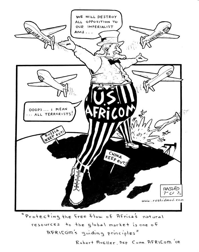 U.S.-Africom-2014-art-by-Kevin-Rashid-Johnson, On Pan Afrikanism: Interview with Comrade Rashid by JR Valrey of Block Report Radio, Behind Enemy Lines
