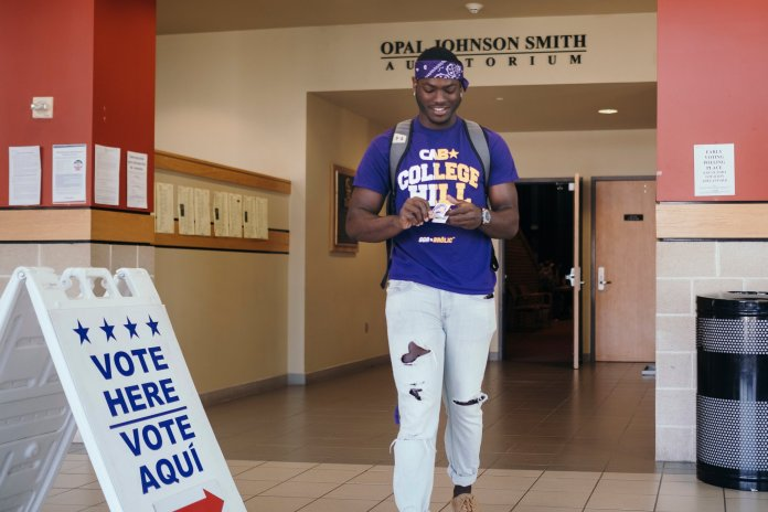 Prairie-View-AM-Univ-student-Damon-Johnson-votes-on-campus-110318-by-Todd-Spoth-NYT, Civic engagement of Texas college students obstructed: We must rock the vote in 2020!, Featured National News & Views