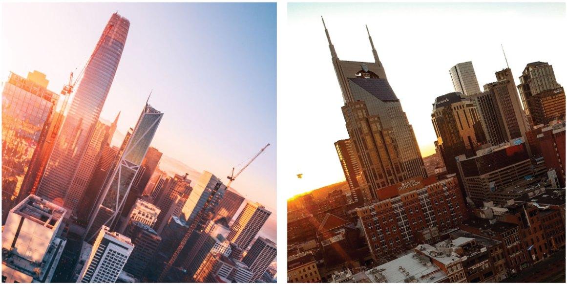Tech landscapes in San Francisco and Nashville