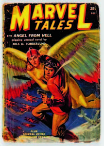 """Copyright: © MARVEL/Courtesy TASCHEN MARVEL TALES Vol. 1, No. 6. Cover; art, J.W. Scott; December 1939. The word """"Marvel"""" saw its first use on the 1938 series debut of Martin Goodman's pulp magazine, MARVEL SCIENCE STORIES. The title changed to MARVEL TALES with a shift from hard science fiction to science fantasy the following year."""