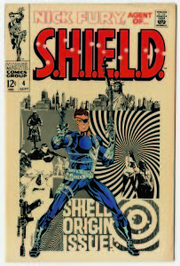 """© MARVEL/Courtesy TASCHEN NICK FURY, AGENT OF S.H.I.E.L.D. No. 4. Cover; pencils and inks, Jim Steranko; September 1968. Eschewing the overused term """"psychedelic"""" to describe Steranko's fantastic artwork — the artist coined a new phrase for his work: Zap Art. The term fit, as he employed techniques culled from various sources, including photography, collage, movie posters, and advertising to create a contemporary look."""