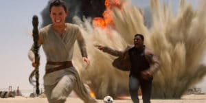 Daisy Ridley's Rey and John Boyega's Finn are having a blast as the touted twosome out to save the day in J.J. Abram's celebrated STAR WARS reboot THE FORCE AWAKENS