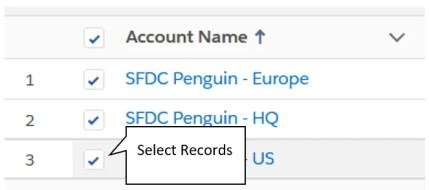 Screenshot of how to select records for editing within a List View