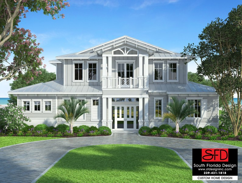 South Florida Designs Waterside   South Florida Designs Coastal 2 Story House Plan