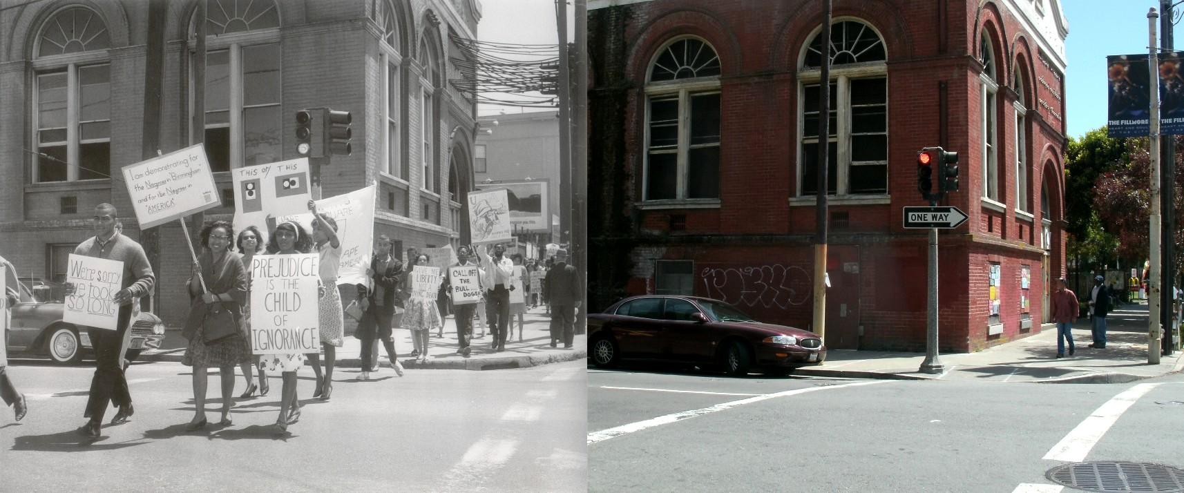 Fillmore and Turk in the 1960 s     San Francisco Film Locations Then     A civil rights march at Fillmore and Turk in 1963   Thumbnail image