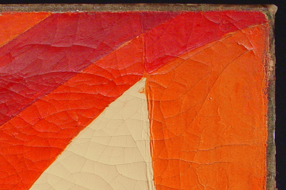 "On the ""corner bisector cracks"", as the name suggests, the cracks bisects the corner of the painting."