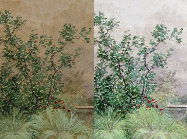 Discolored watercolor before and after restoration treatment