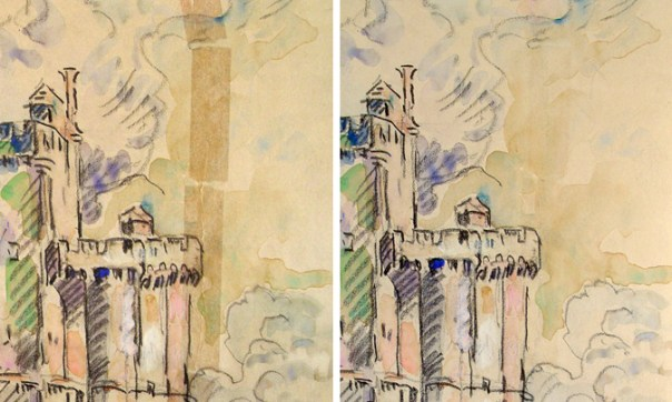 Paul Signac, Port de la Rochelle. Tape removal process performed on an artwork on paper can be both restoration and remedial conservation.