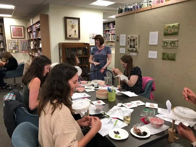 2019 - Mae teaching Bite-size Embroidery with wine and snacks