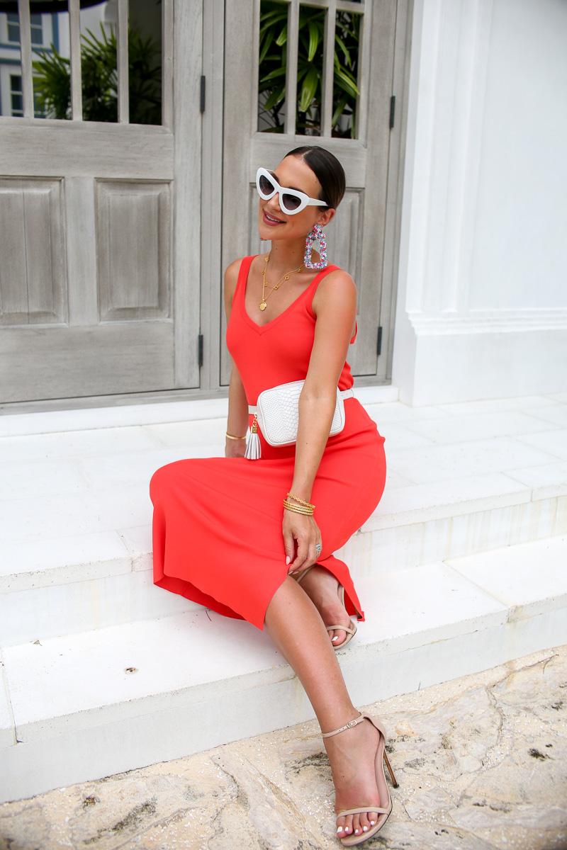 coral slip dress