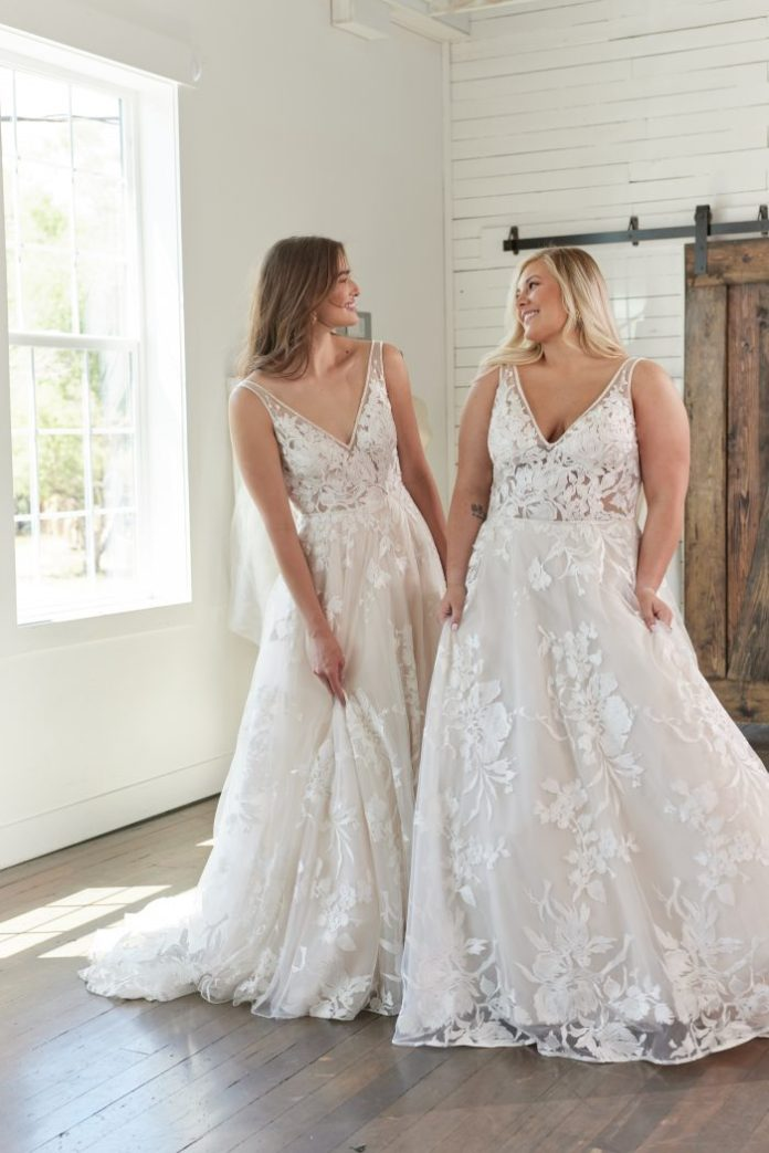 Two Body Positive Brides Trying on Maggie Sottero Wedding Dresses at Bridal Boutique