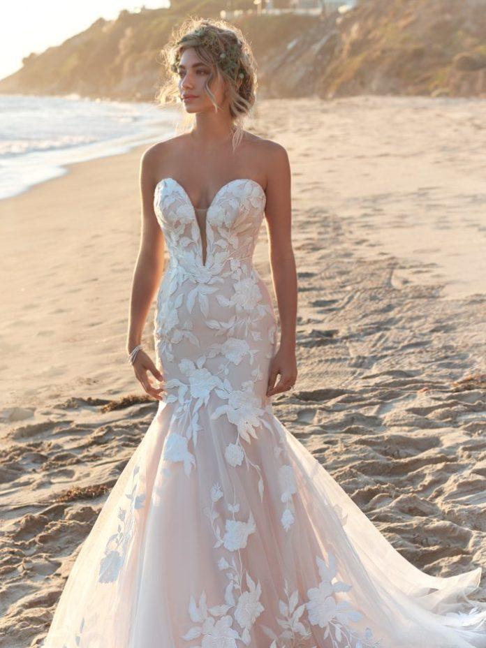 Model Wearing Strapless Floral Mermaid Wedding Dress Called Hattie by Rebecca Ingram