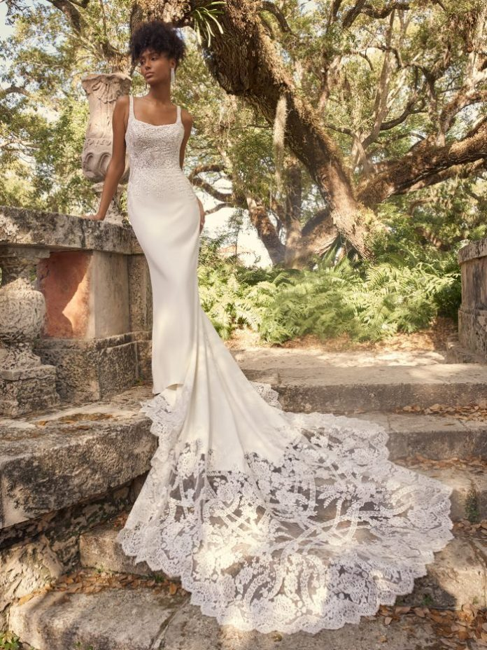 Bride wearing square long wedding dress called Cairo by Maggie Sottero