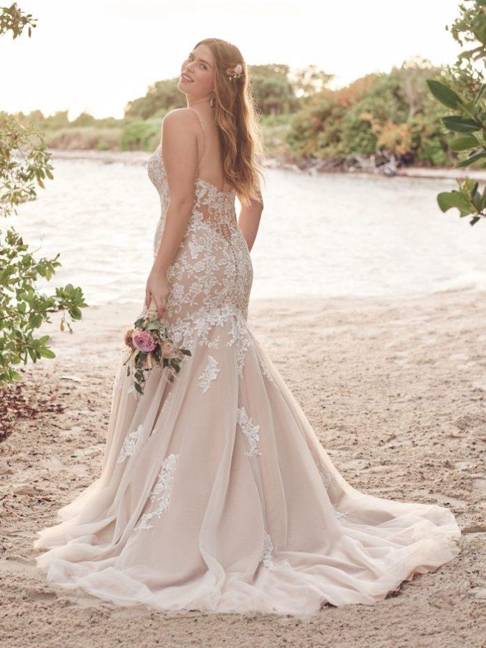 Bride Wearing Blush Mermaid Wedding Dress Called Forrest by Rebecca Ingram