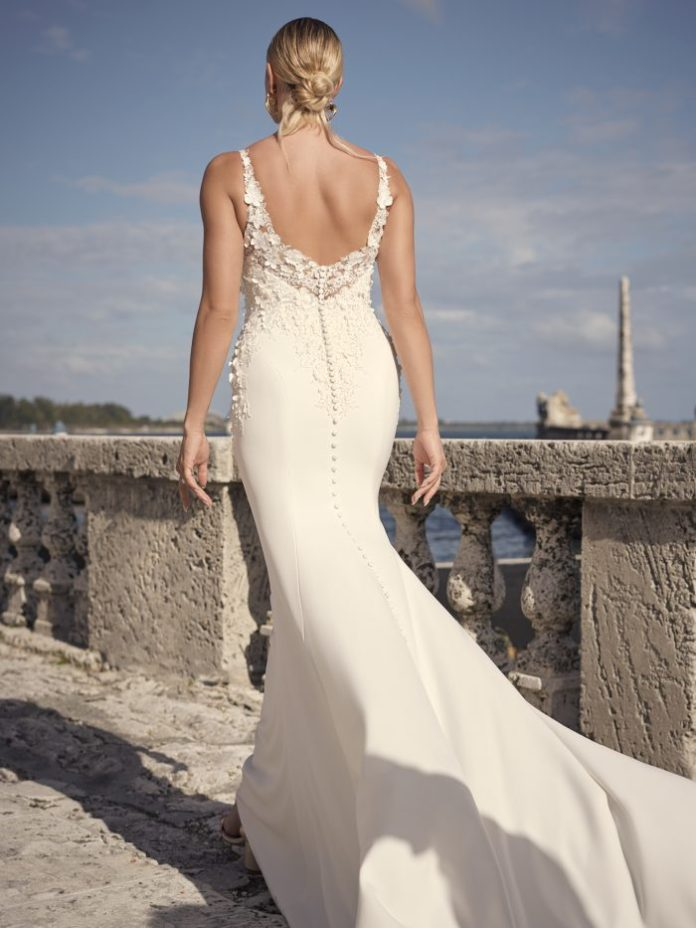 3-D wedding dress made of floral crepe sheath, called Arta by Sottero and Midgley