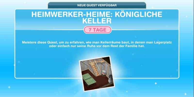 Questankündigung Heimwerker Heime: Königliche Keller