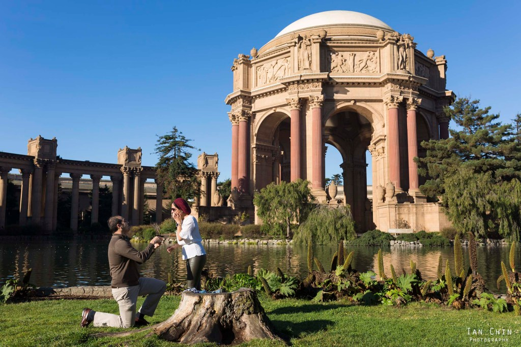 palace of fine arts marriage proposal with the girl covering her mouth as the guy proposes