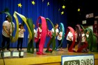 Photo: Patrick Mckinnie - Fourth and fifth graders from the Robert Louis Stevenson ribbon dancers show the crowd their brightly colored ribbons during their live performance.