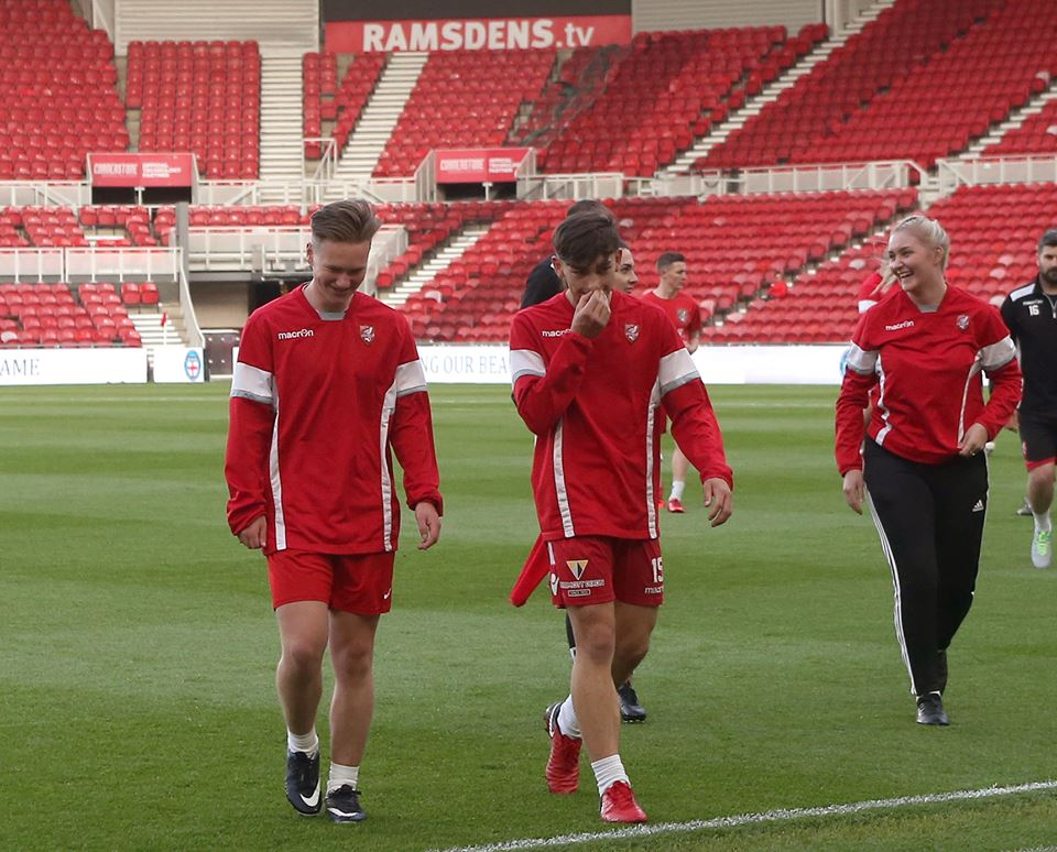 Former Scholars Ben Atkinson and Josh Wallace in the squad at the Riverside Stadium, with scholar Sasha Woods (far right) undertaking a work placement with the club as part of the physio team.