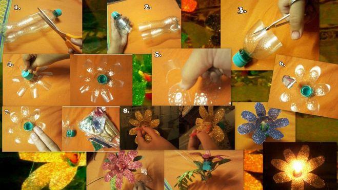 Flores realizadas con botellas de plastico