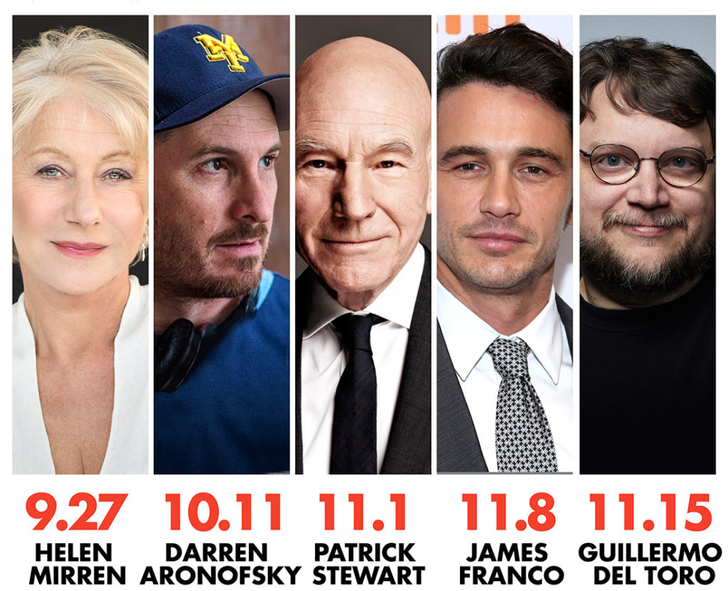 The Hollywood Masters Season 8 Lineup, including Helen Mirren, Darren Aronofsky, Patrick Stewart, James Franco, and Guillermo del Toro