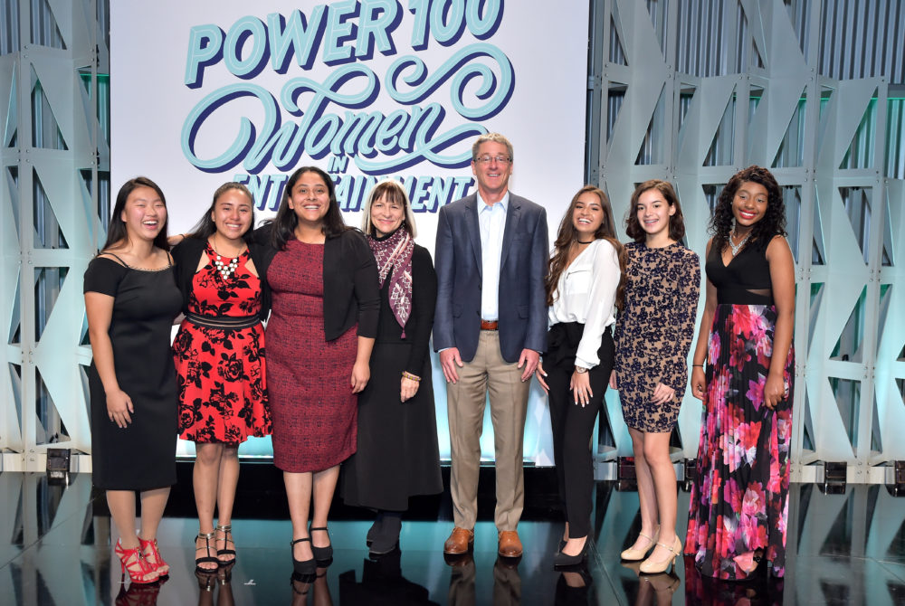 LMU SFTV Dean Peggy Rajski and LMU President Timothy Snyder are pictured with scholarship winners at The Hollywood Reporter's Women in Entertainment event