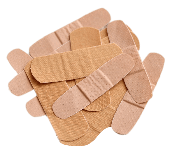 Group of bandages with white background