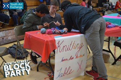 Knitting workshops presented by youth from Lick-Wilmerding High School