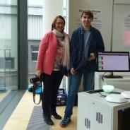 """03.02.2018: Jakob Jarebica (nicht im Bild) und Florian Janot holen sich mit ihrem Projekt """"Open Smarthome"""" einen dritten Preis — hier mit Betreuering Angelika Möbius"""