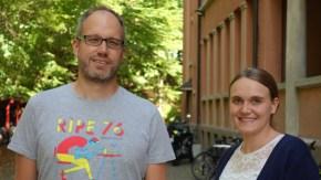 """11.09.2018: """"Zweiter Schultag!"""" —Iris Krauter (Biologie, NWT) und Stefan Giera (Biologie, Chemie) freuen sich über einen motivierenden Start am SG"""