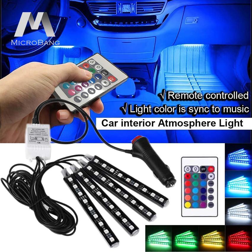 MicroBang LED Mobil Lampu Strip 4 Pieces Interior Tahan Air Underdash Lighting Kit dengan Remote Control Nirkabel