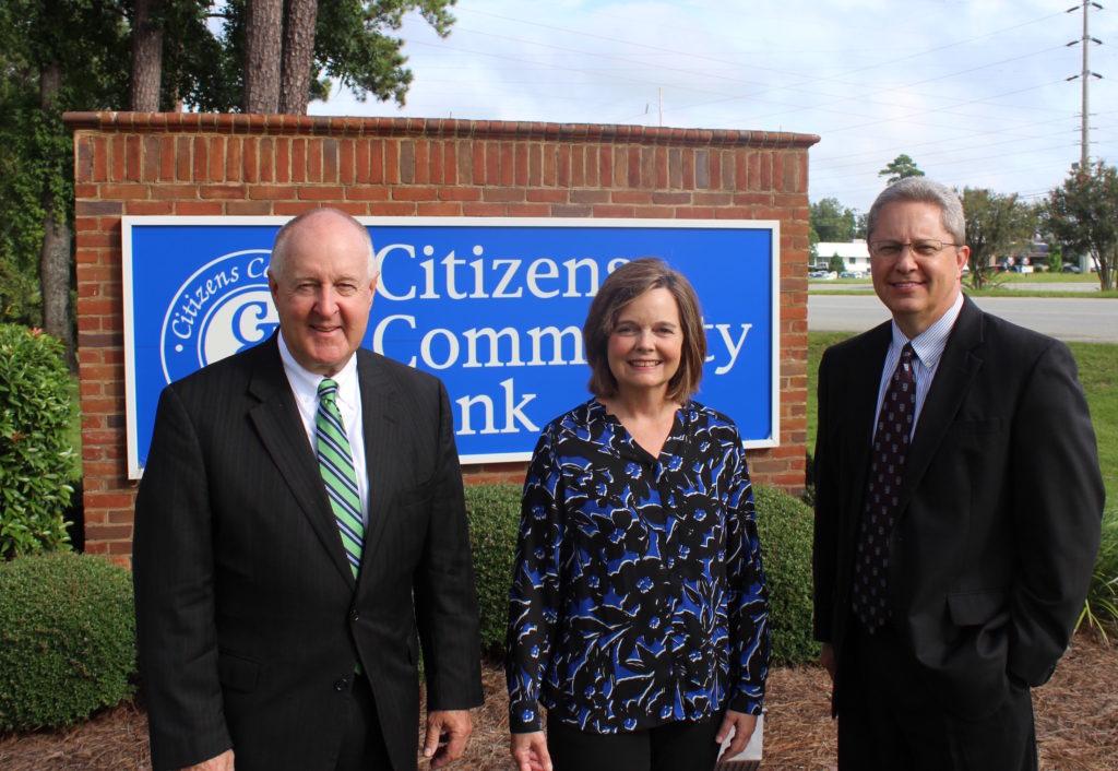 Citizens Community Bank CEO Glenn Copeland, left, CFO Starling H. Waldron, and President Tim Jones.