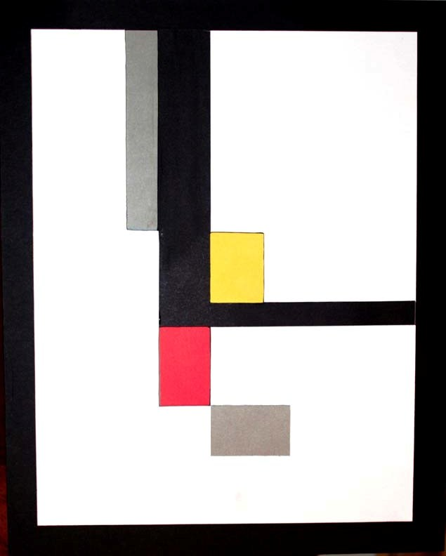 Mondrian in 3D (layers cut out to reveal the colors below)